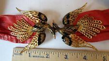 Vintage Edgar Berebi Pierced Enamel /Gold Tone/ Brown Color Earrings. Signed