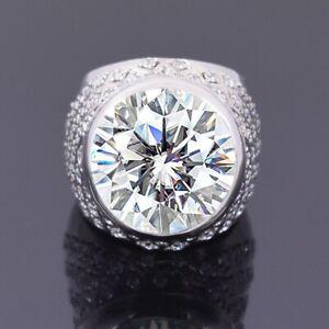 RARE 8.50 Ct Off White Diamond Men's Ring With White Diamonds Accents !