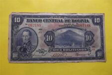 1928Julio28 Diez Bolivianos $10 Banco Central De Boliv J2 Circulated #062188 16