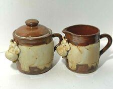 VINTAGE Handcrafted Pottery COW CREAMER SUGAR Red Brown Glaze RAISED DESIGN