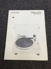 Harman Kardon Rabco ST5 Turntable Original Owners Manual 7 Pages