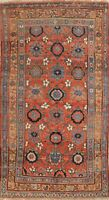 Antique Geometric Bidjar Area Rug Wool Hand-Knotted Oriental All-Over Carpet 4x7