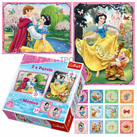 Trefl 2 In 1 30 + 48 & Memo Disney Princess Snow White Dwarves Jigsaw Puzzle NEW