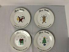Set of 4 Merry Brite Christmas Dessert Salad Plates Santa Reindeer Tree Gift