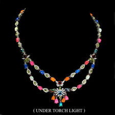 Heart Swiss Blue Topaz 7mm Fancy Fire Opal Gems Cz 925 Sterling Silver Necklace