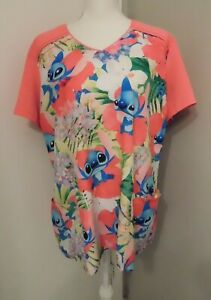 Women's Size XL Disney Stitch Salmon Pink Aloha Hawaiian Floral Scrub Top
