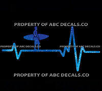 VRS Heart Beat Line SURF Surfer Guy Carrying Board Beach Surfing CAR METAL DECAL