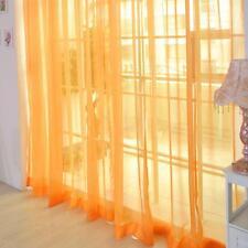 Orange Floral Tulle Voile Window Curtain Drape Panel Sheer Scarf Divider GA