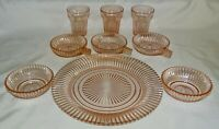 Anchor Hocking Queen Mary Pink Dinner Plate, 3 Juice, 2 Berry & 2 Handled Bowls