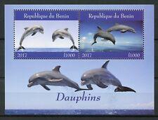 Benin 2017 MNH Dolphins 2v M/S Dauphins Marine Mammals Animals Stamps