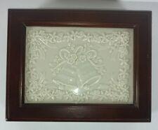 Antique Wooden Box Wedding Bells Cream Color Detailed Panel Green Felt Interior