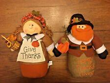 "Pilgrim Thanksgiving 13"" Dolls Weighted Bottom - Autumn Fall Harvest Figurines"