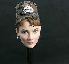 1/6 Scale Beauty Girl Audrey Hepburn Head Carving Fit 12'' Pale Body