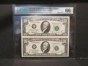 1995 TEN DOLLAR STAR NOTES UNCUT SHEET OF TWO PMG 66 GEM/UNC. EPQ