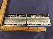 One Vintage GE name plate for FM Radio Transmitter aluminium