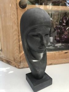 FOLK ART ARTIST MADE VINTAGE WOODEN CARVED  BUST SCULPT WOMAN BY FLORES ARIAS