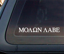 "Molon Labe Gun Rights ""Come and Take Them"" Car Decal / Sticker - White"