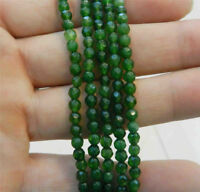 Natural 4mm Faceted Green Emerald Gems Round Loose Beads 15'' Strand