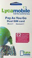 Lyca Mobile Sim Card - Standard/Micro/Nano  (Buy 1 Get 1 Free)