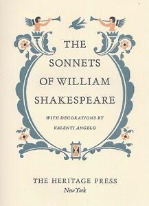 The Sonnets of William Shakespeare Heritage Press Illus Valenti Angelo Slipcase