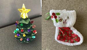 "18"" doll mini ceramic light up christmas tree American Girl doll stocking NEW"