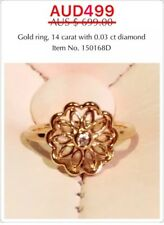 Genuine Pandora 14ct Gold Ring With Diamond, 150168D, Size 56