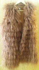 TOPSHOP TAN LUXE MONGOLIAN SHEEPSKIN LONGLINE GILET SIZE UK 12