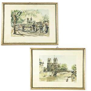 Franz Herbelot Limited Edition Set Signed Prints Paris Notre Dame Framed
