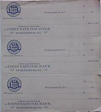 FIRST NATIONAL BANK OF SPARTANBURG (SOUTH CAROLINA) 1930s BLANK CHECKS (3)
