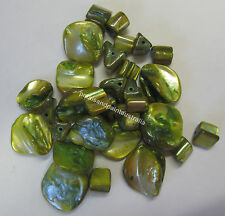 32 Pieces Shell Bead Kit Chunky & Cube Beads In Lime For Jewellery Making TAR255