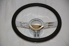 "14"" Chrome Billet Aluminum Leather Half Wrap Custom Street Rod Steering Wheel"