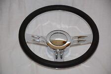 "14"" Chrome Billet Aluminum Leather Half Wrap Custom Street Rod Steering Wheel"