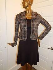 New St John sz 2 Multi Brown Fringe Tweed Full Zip 3pc Skirt Suit w/ Shell $2300