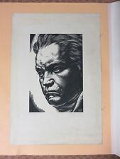 Sotero Cosme - Gravure numéroté (Bois gravé) -Grand Format- Ludwig Van Beethoven