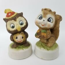 Vtg Flambro Taiwan Fine Porcelain Bisque Autumn Owl Pumpkin & Squirrel Figurines