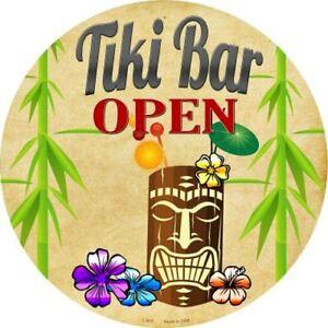 "Tiki Bar Open 12"" Round Metal Sign Novelty Hawaiian Decorative Home Wall Decor"