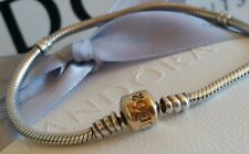 Pandora Two Tone Silver Bracelet 14ct Gold Clasp 20cm Exc. Condition RRP $449
