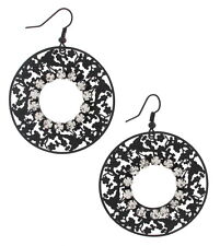 Pierced Earrings Clear Rhinestone Round Openwork Filigree Dangle Black Enamel