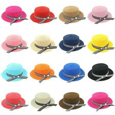 Women Boater Hat Straw Hats Summer Beach Sunhat Top Cap Striped Ribbon Band Pins