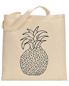 Pineapple cotton tote bag - Book bag, Shopping bag,Reusable and Washable