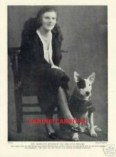 Woman And Her Bull Terrier Dog Wearing A Coat 1934 Vintage Photo Print
