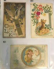Golden Age Postcards - Lot of 3 - Easter Theme - Dove, Rabbit, Cherubs
