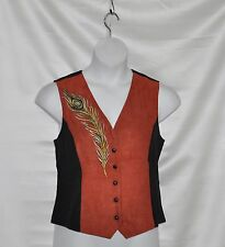 Bob Mackie Peacock Plume Embroidered Faux Suede and Moleskin Vest Size S Copper