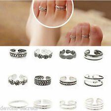 12 x joblot girls ladies silver jewellery adjustable one size toe ring mixed TL4