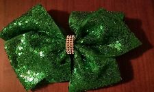 LARGE 8 INCH GREEN SEQUIN ST PATRICKS DAY HAIR BOW Brand New Stock READY TO POST