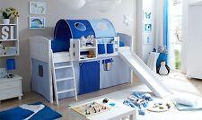 Lit mezzanine avec toboggan EKKI Pin massif teinté blanc tissus Bleu clair-Bleu