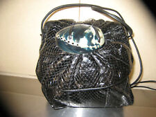 OMG! MEYERS HANDBAG BLACK AUTH SNAKESKIN XBODYor SHOULDER wNATURL SHELL TRIM EUC