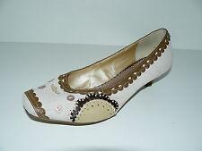 PEP STEP Knitten Heels Pumps Damen Schuhe 40 UK 6,5 Antik Patch Work weiß  °TOP