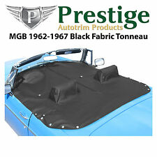 MGB Tonneau Cover Black Fabric Canvas with Headrest Pockets 1962-1967