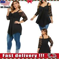 Women Sexy Lace Cold Shoulder Blouse Ladies Long Sleeve Pleated Tunic Tops L-6XL